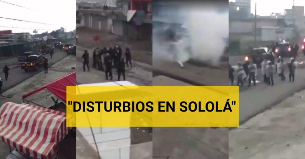 Enfrentamiento entre pobladores de Sololá y agentes de la PNC